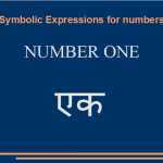 Some symbolic expressions for number one